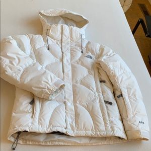 Goose Down Filled North Face White Jacket Size SM